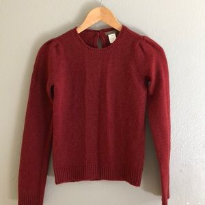 J.Crew Burgandy Puff sleeve Sweater XS